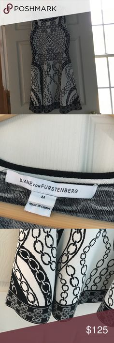 HP 🎉Diane Von Furstenberg dress black white tags Worn once, great dress! Very light wear. Size medium Diane von Furstenberg Dresses Midi