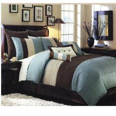 Chocolate brown and blue room look; these are the colors in my room. Looking for a good wall color...possibly this?