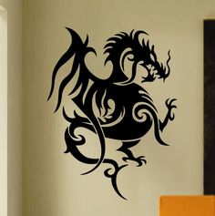 Indoor Vinyl Wall Graphic Sticker LARGE Tribal Dragon Tattoo 2 ft. Decal Lettering Quotes