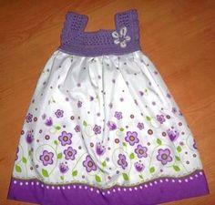 vestido de niña tejidos a ganchillo con tela - Buscar con Google