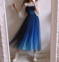 Japanese harajuku galaxy stars gradient blue long dress That skirt! Trendy Dresses, Cute Dresses, Beautiful Dresses, Prom Dresses, Long Dresses, Mode Outfits, Dress Outfits, Fashion Dresses, Dress Up