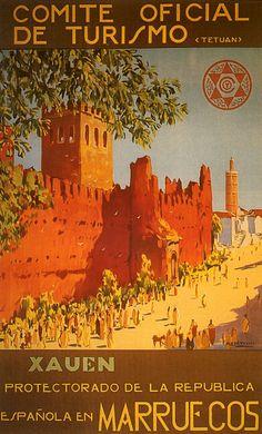 Xauen (Chefchaouen) Visit Morocco Arabic Arab Tourism Travel Trip Vintage Poster - Maroc Désert Expérience tours http://www.marocdesertexperience.com