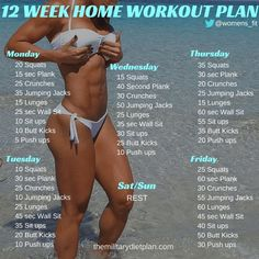 12 Week Home Workout Plan diet workout plan