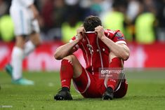 Robert Lewandowski of Bayern Muenchen looks dejected as they fail to reach the final after the UEFA Champions League Semi Final Second Leg match between Real Madrid and Bayern Muenchen at the Bernabeu on May 1, 2018 in Madrid, Spain.