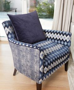 Smaller items of furniture look very cute when covered in a busy mix of pattern of a similar colour. Cosy, Armchair, Interiors, Colour, Projects, Pattern, Furniture, Home Decor, Sofa Chair