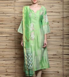 Lime Green Block Printed Chanderi Semi Stitched Kurta With Dupatta
