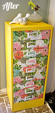 Little House in the Big D: Spring Time Storage - filing cabinet makeover Cabinet Makeover, Office Makeover, Spring Time, Happy Spring, Decoration, Diy Furniture, Upcycled Furniture, Furniture Makeover, Office Furniture