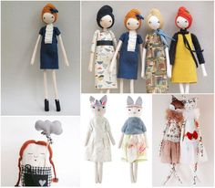round up of softies, handmade dolls, handmade teddies