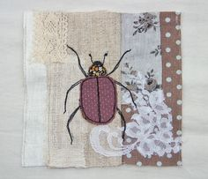Beetle machine embroidery and patchwork