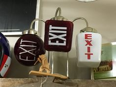 Different types of vintage exit lights