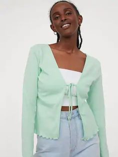 H&M Women Green Solid Cotton Jersey Cardigan