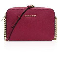 Michael Michael Kors Crossbody - Jet Set Large ($148) ❤ liked on Polyvore featuring bags, handbags, shoulder bags, cherry, crossbody purse, cross body, red shoulder bag, red handbags and red crossbody purse