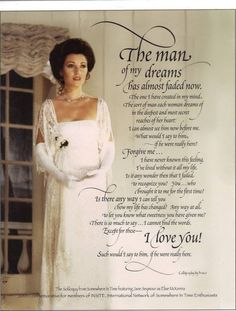 """ The Man Of My Dreams Has Almost Faded Now."" The soliloquy from the theater scene, in 'Somewhere In Time. My most loved movie movie. Love Movie, Movie Stars, Movie Tv, Somewhere In Time, Old Movies, Great Movies, Movies Showing, Movies And Tv Shows, Dr Quinn"