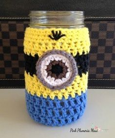 Free Crochet Minion & Girl Minion Mason Jar Cozy