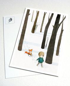 """Kunst - Postkarte """"Waldjunge"""" - ein Designerstück von Martina_Hoffmann bei DaWanda"""