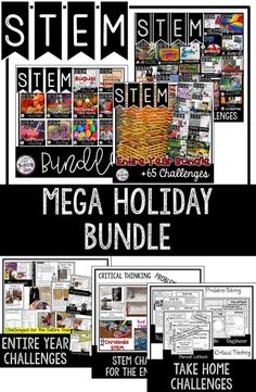 STEM Mega Bundle includes over 85 Challenges that will engage your students as they go through the engineering design process. Your students will learn to collaborate with their peers as they think critically and problem solve to complete seasonal STEM Challenges! ⭐These activities can also be used for STEAM Activities, STEM After School Programs, Summer Programs, Clubs, Maker Spaces, or at home. You will save money, time, and your students will be engaged in yearlong STEM Activities.