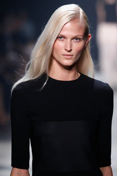 Paul Hanlon finishes hair with Moroccanoil Treatment Light to give a piecey feel to the Narciso Rodriguez Spring Show 2014. www.twincare.co.za 011 305-1600