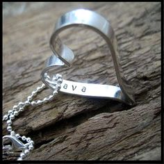 """Sterling Silver Hand Stamped Secret Message Heart Personalized with Names or Words :: $51 