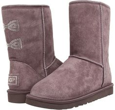 Locomotive Grey UGG Classic Short Boots with Crystal Bows