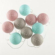 Guirlande lumineuse 10 boules LED - Coloris ROSE BLEU GRIS