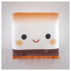 Decorative Pillow, Mini Pillow, Kawaii Print, Toy Pillow - Yummy Marshmallow Smore. $18.00, via Etsy.