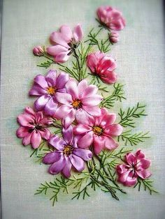 Wonderful Ribbon Embroidery Flowers by Hand Ideas. Enchanting Ribbon Embroidery Flowers by Hand Ideas. Embroidery Designs, Ribbon Embroidery Tutorial, Rose Embroidery, Silk Ribbon Embroidery, Embroidery Stitches, Embroidery Patterns, Embroidery Supplies, Embroidery Books, Embroidery Techniques