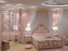 Shabby chic bedrooms and bedroom decor. my girly bedroom ✨? Girl Bedroom Designs, Room Ideas Bedroom, Bedroom Decor, Princess Bedrooms, Princess Room, Pink Princess, Dream Rooms, Dream Bedroom, Royal Bedroom