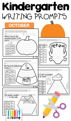 Kindergarten Writing Prompts for October! Students work of fun, hands-on writing projects with our Guided Writing pack for October.  Topics include Fall Favorites, Harvest, Bats & Spiders, Pumpkins, Halloween and more!  Great for reluctant writers.