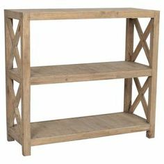 """Wood bookcase in grey wash with open latticework sides.   Product: BookcaseConstruction Material: WoodColor: Grey washFeatures: Add a touch of beach living to any homeDimensions: 43"""" H x 47"""" W x 18"""" DCleaning and Care: Remove dust with a soft, lint-free cloth"""