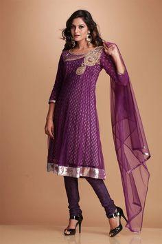 Priya- Kalidar kurta lined with printed polycrepe lining. Neckline with fancy zardozi and zircon hand embroidery. Daman with shimmer edging. Shantoon churidar and nett dupatta