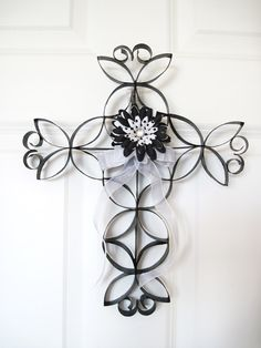 Faux Wrought Iron Wall Cross by thepaperpicasso on Etsy