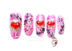 3D nails rave hime gyaru japanese nail art crack polish by Aya1gou, $19.80