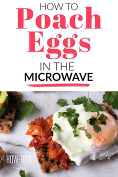 Microwave Poached Eggs? Yes! Here's how to poach eggs in the microwave and it only takes one minute. #housewifehowtos #poachedeggs #microwavecooking #eggs #breakfast