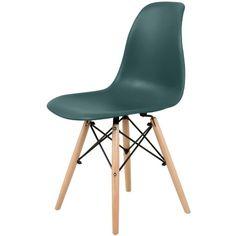 Cadeira Eiffel Polipropileno Verde Petroleo Madeira - 34291 - SunHouse