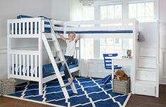 Shop Maxtrix corner bunk beds & corner loft beds for kids! Unique styles like our Triple loft bunk bed & quad bunk beds for four make great use of room corners, p Corner Bunk Beds, Loft Bunk Beds, Bunk Bed With Desk, Metal Bunk Beds, Modern Bunk Beds, Full Bunk Beds, Bunk Beds With Stairs, Kids Bunk Beds, Desk Under Bed