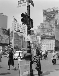 """Time Square 1965 and a well dressed man. - 1956""   Photo came with this caption.  Fairly astounding, I thought! B-) There's a greater distance between the two objects than I would have guessed."