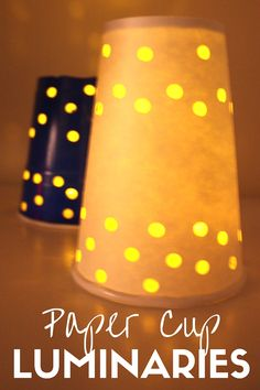Celebrate the dark days with these easy paper cup luminaries that kids can help make too! Light up the dark afternoons with paper cup luminaries for kids. Winter Crafts For Kids, Crafts For Kids To Make, Projects For Kids, Preschool Winter, Preschool Ideas, Easy Crafts, Art Projects, Sewing Projects, Coffee Cup Crafts