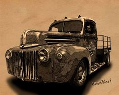 Rat Rod Flatbed 46 Ford Cross-Hatch Drawing Print from VivaChas is this great looking rat rod truck in a warm nostalgic style found in aged collections and forgotten portfolios ~:0) VivaChas!