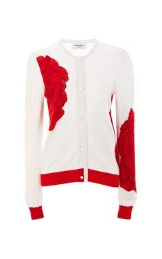 【Thom Browne】Rose-Print Cashmere Cardigan $1,200