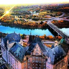 Hotel Macdonald and the downtown river valley, Edmonton , Alberta. Places Around The World, Oh The Places You'll Go, Places To Travel, Places To Visit, Travel Destinations, Canada Eh, Western Canada, Quebec City, Dreams
