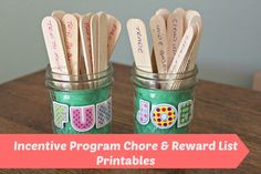 A list of chores and rewards for an incentive program for your kids WITH printables! Chore Rewards, Kids Rewards, Chore List, Kids And Parenting, Parenting Hacks, Peaceful Parenting, Chore Sticks, Reward Chart Kids, Charts For Kids