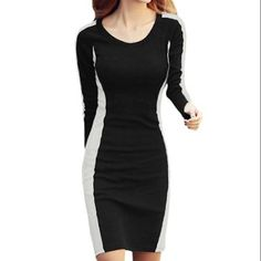 Allegra K Women Long Sleeve Contrast Fitted Dress Black White (Size XL / 16)