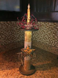Primitive country wooden spool candle holder decoration on Etsy, $30.00