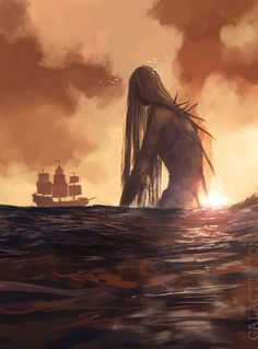 "and they say she was tall like a mountain, glistening in the setting sun, ancient and horrifying."" It's and the ocean is scary. Mythical Creatures Art, Fantasy Creatures, Sea Creatures, Dark Fantasy Art, Fantasy Artwork, Fantasy World, Fantasy Queen, Space Fantasy, Arte Horror"
