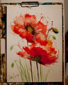 watercolor paintings of poppies Watercolor Poppies, Watercolor Cards, Poppies Painting, Poppies Art, Watercolor Sunflower, Watercolor Logo, Watercolour Paintings, Red Poppies, Yellow Roses