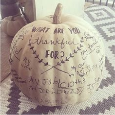 Last year's Thanksgiving centerpiece required family members to note what they are most thankful for — it makes a sweet comeback as fall decor this year.  Get the full home tour at Yellow Prairie Interior Design »   - http://GoodHousekeeping.com