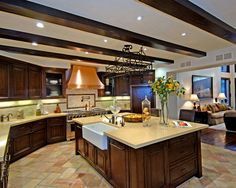 Mediterranean Spaces Open Concept Kitchen Living Room Design, Pictures, Remodel, Decor and Ideas
