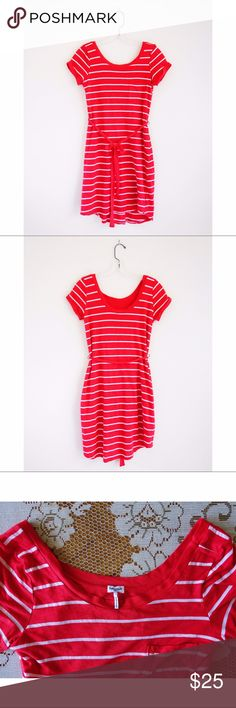 """Splendid Red Striped Shirt Dress size Small Splendid Red Striped Shirt Dress size Small, EUC—no rips, stains, or holes, made in USA, style# SD6C7695, scoop front and scoop back with back lower than front, cuffed short sleeves, mini dress length, longer in back than front, tie belt at waist, 39% supima cotton, 39% micro modal, 22% polyester, contrast 50% supima cotton, 50% modal, 13.5"""" across shoulders, 17"""" pit to pit, 16"""" across waist, 33"""" shoulder to hem in front, 35"""" shoulder to hem in…"""