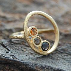 Gold Organic Oval Smokey Quartz Ring