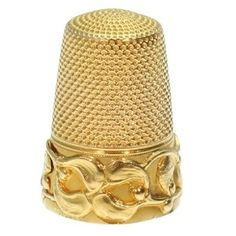 Gold Art Nouveau thimble with mistletoe motif